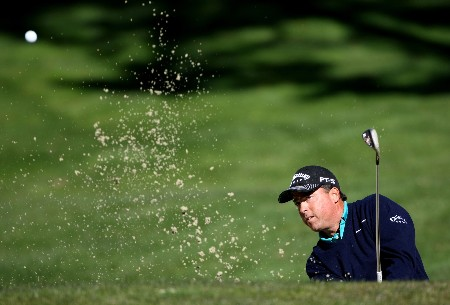 PEBBLE BEACH, CA - FEBRUARY 08:  Olin Browne hits a shot during the second round of the At&T Pebble Beach National Pro-Am at Poppy Hills Golf Links on February 8, 2008 in Pebble Beach, California.  (Photo by Jed Jacobsohn/Getty Images)