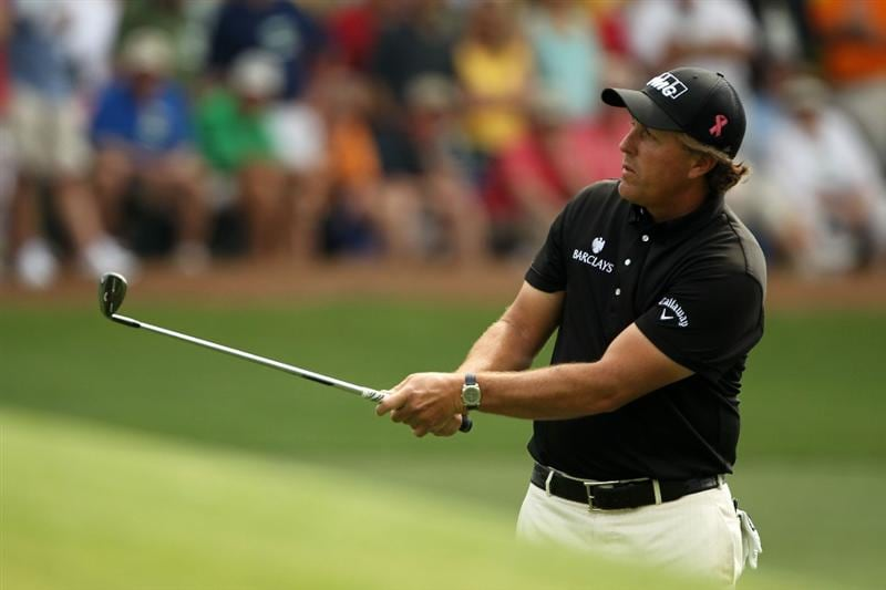 AUGUSTA, GA - APRIL 08:  Phil Mickelson hits his third shot on the third hole during the second round of the 2011 Masters Tournament at Augusta National Golf Club on April 8, 2011 in Augusta, Georgia.  (Photo by Jamie Squire/Getty Images)