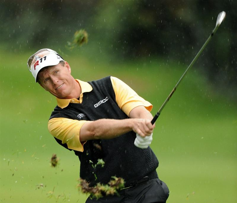 PACIFIC PALISADES, CA - FEBRUARY 18:  John Senden of Australia hits a second shot on the 12th hole during the second round of the Northern Trust Open at the Riviera Country Club on February 18, 2011 in Pacific Palisades, California.  (Photo by Harry How/Getty Images)