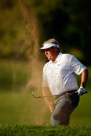 CHASKA, MN - AUGUST 13:  Carl Pettersson of Sweden plays a bunker shot on the second hole during the first round of the 91st PGA Championship at Hazeltine National Golf Club on August 13, 2009 in Chaska, Minnesota.  (Photo by Streeter Lecka/Getty Images)