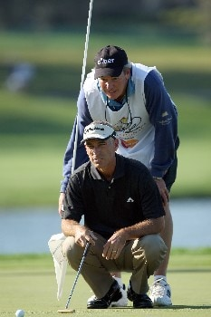 ORLANDO, FL - MARCH 13:  Corey Pavin of the USA lines up a putt at the 3rd hole during the first round of the 2008 Arnold Palmer Invitational presented by Mastercard at the Bay Hill Golf Club and Lodge, on March 13, 2008 in Orlando, Florida.  (Photo by David Cannon/Getty Images)