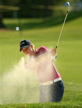 MT. PLEASANT, SC - JUNE 1:  Suzann Pettersen of Norway plays a bunker shot on the third hole during the final round of the Ginn Tribute at RiverTowne Country Club June 1, 2008 in Mt. Pleasant, South Carolina.  (Photo by Scott Halleran/Getty Images)