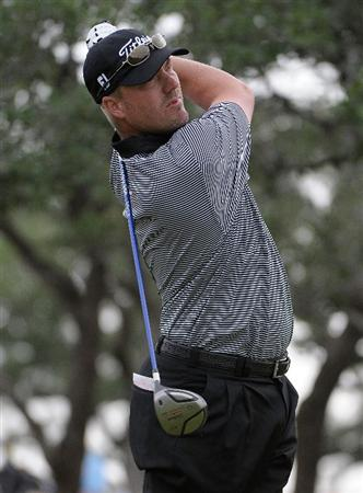 SAN ANTONIO, TX - MAY 16:  Brett Wetterich tees off the 10th hole during the third round of the Valero Texas Open at the TPC San Antonio on May 16, 2010 in San Antonio, Texas. (Photo by Marc Feldman/Getty Images)