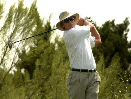 Jim Carter hits from the 8th tee during the first round of the 2005 Valero Texas Open at La Cantera in at La Cantera Country Club in San Antonio, Texas September 22, 2005.Photo by Steve Grayson/WireImage.com