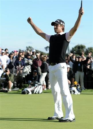 PACIFIC PALISADES, CA - FEBRUARY 20:  Aaron Baddeley of Australia celebrates his winning putt on the 18th green during the fourth round of the Northern Trust Open at the Riviera Country Club on February 20, 2011 in Pacific Palisades, California.  (Photo by Harry How/Getty Images)