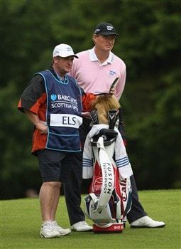 LUSS, UNITED KINGDOM - JULY 10:  Ernie Els of South Africa and caddy Ricci Roberts line up a shot during the First Round of The Barclays Scottish Open at Loch Lomond Golf Club on July 10, 2008 in Luss, Scotland.  (Photo by Warren Little/Getty Images)