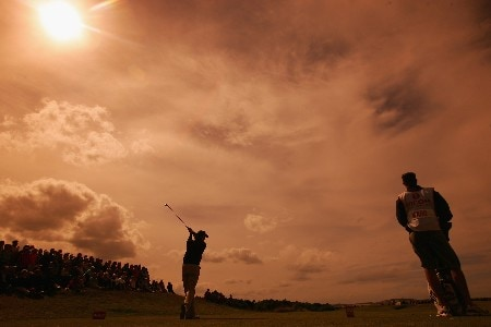 ST ANDREWS, UNITED KINGDOM - AUGUST 04:  (EDITORS NOTE: AN ORANGE GRADUATED FILTER WAS USED IN THE CREATION OF THIS IMAGE) Wendy Ward of USA tees off on the 11th hole during the Third Round of the 2007 Ricoh Women's British Open held on the Old Course at St Andrews on August 4, 2007 in St Andrews, Scotland.  (Photo by Warren Little/Getty Images)