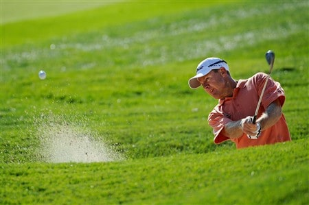 BLOOMFIELD HILLS, MI - AUGUST 06:  James Kingston of South Africa plays from a bunker during a practice round prior to the 90th PGA Championship at Oakland Hills Country Club on August 6, 2008 in Bloomfield Township, Michigan.  (Photo by Sam Greenwood/Getty Images)