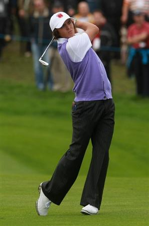 NEWPORT, WALES - OCTOBER 02:  Rickie Fowler of the USA hits a shot on the third hole during the rescheduled Afternoon Foursome Matches during the 2010 Ryder Cup at the Celtic Manor Resort on October 2, 2010 in Newport, Wales.  (Photo by Andrew Redington/Getty Images)