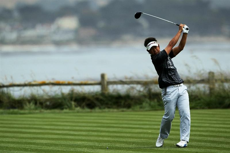 PEBBLE BEACH, CA - JUNE 18:  Hiroyuki Fujita of Japan hits his tee shot on the 18th hole during the second round of the 110th U.S. Open at Pebble Beach Golf Links on June 18, 2010 in Pebble Beach, California.  (Photo by Jeff Gross/Getty Images)