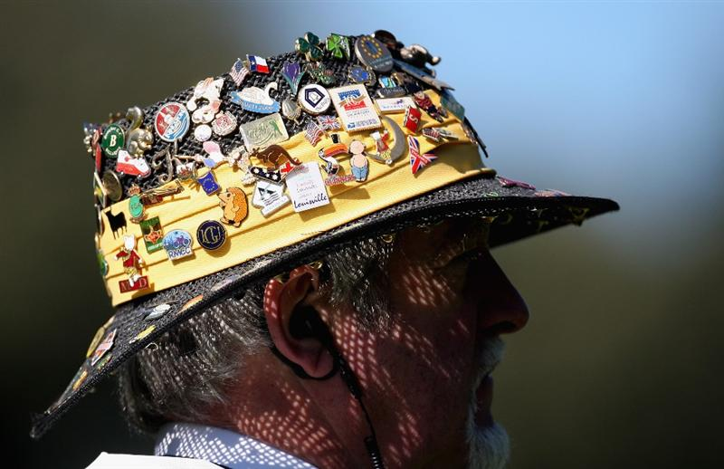 SOTOGRANDE, SPAIN - OCTOBER 30:  A Marshall with pin badges in his hat during the first round of the Volvo Masters at the Valderrama Golf Club on October 30, 2008 in Sotogrande, Spain.  (Photo by Ross Kinnaird/Getty Images)