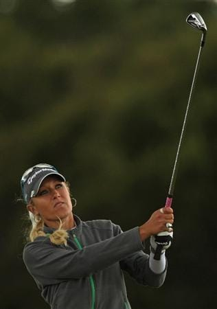 LYTHAM ST ANNES, ENGLAND - JULY 31:  Natalie Gulbis of USA hits an approach shot during the second round of the 2009 Ricoh Women's British Open Championship held at Royal Lytham St Annes Golf Club, on July 31, 2009 in  Lytham St Annes, England.  (Photo by Warren Little/Getty Images)