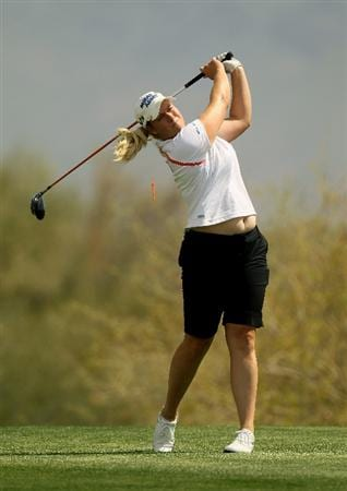 PHOENIX, AZ - MARCH 18:  Brittany Lincicome hits her tee shot on the 18th hole during the first round of the RR Donnelley LPGA Founders Cup at Wildfire Golf Club on March 18, 2011 in Phoenix, Arizona.  (Photo by Stephen Dunn/Getty Images)