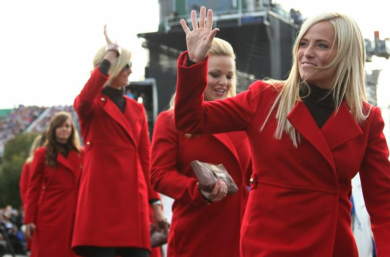 NEWPORT, WALES - SEPTEMBER 30:  Amy Mickelson waves during the Opening Ceremony prior to the 2010 Ryder Cup at the Celtic Manor Resort on September 30, 2010 in Newport, Wales.  (Photo by Ross Kinnaird/Getty Images)