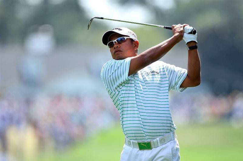 AUGUSTA, GA - APRIL 10:  Prayad Marksaeng of Thailand hits his approach shot on the first hole during the second round of the 2009 Masters Tournament at Augusta National Golf Club on April 10, 2009 in Augusta, Georgia.  (Photo by Andrew Redington/Getty Images)