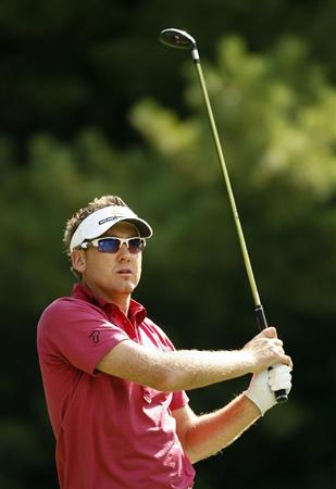 NORTON, MA - AUGUST 29: Ian Poulter of England hits his tee shot on the 11th hole during the first round of the Deutsche Bank Championship at TPC Boston on August 29, 2008 in Norton, Massachusetts. (Photo by Hunter Martin/Getty Images)