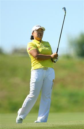 GLADSTONE, NJ - MAY 20 : Jiyai Shin of South Korea watches her second shot on the 15th hole during the first round of the Sybase Match Play Championship at Hamilton Farm Golf Club on May 20, 2010 in Gladstone, New Jersey. (Photo by Hunter Martin/Getty Images)