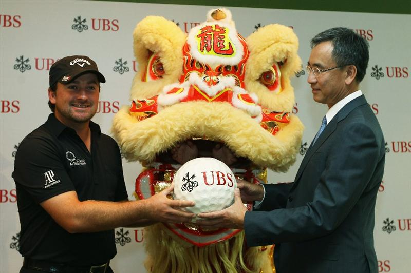 HONG KONG - NOVEMBER 16:  Graeme McDowell of Northern Ireland during the UBS Hong Kong Open Opening Ceremony at the International Finance Centre on November 16, 2010 in Hong Kong, Hong Kong.  (Photo by Ian Walton/Getty Images)