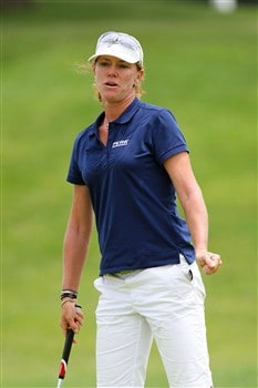 ROGERS, AR - JULY 5:  Helen Alfredsson reacts to a putt during the second round of the P&G Beauty NW Arkansas Championship presented by John Q. Hammons on July 5, 2008 at Pinnacle Country Club in Rogers, Arkansas. (Photo by G. Newman Lowrance/Getty Images)