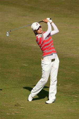 PRATTVILLE, AL - OCTOBER 10: Na Yeon Choi of South Korea follows through on an approach shot during the final round of the Navistar LPGA Classic at the Senator Course at the Robert Trent Jones Golf Trail on October 10, 2010 in Prattville, Alabama. (Photo by Darren Carroll/Getty Images)