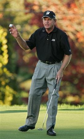TIMONIUM, MD - OCTOBER 11:  Nick Price aknowledges the gallery after finishing with the lead during the third round of the Constellation Energy Senior Players Championship at Baltimore Country Club East Course held on October 11, 2008 in Timonium, Maryland  (Photo by Michael Cohen/Getty Images)
