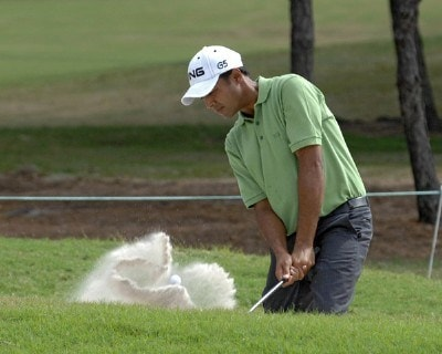 Arjun Atwal plays from a bunker near the 17th green   during the second round of the 2006 Chrysler Championship on October 27, 2006 in Palm Harbor, Florida.   Photo by Al Messerschmidt/WireImage.com