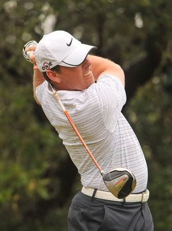 SAN ANTONIO TX - MAY 16: Justin Leonard tees off the 1st hole  during the third round of  the Valero Texas Open held at La Cantera Golf Club on May 16, 2009 in San Antonio, Texas.  (Photo by Marc Feldman/Getty Images)