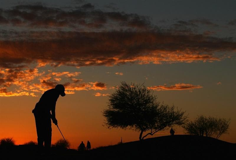 SCOTTSDALE, AZ - FEBRUARY 03:  Cameron Tringale putts on the ninth hole green during the first round of the Waste Management Phoenix Open at TPC Scottsdale on February 3, 2011 in Scottsdale, Arizona.  (Photo by Christian Petersen/Getty Images)
