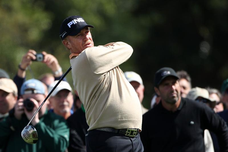 AUGUSTA, GA - APRIL 05:  Miguel Angel Jimenez of Spain hits a shot during a practice round prior to the 2011 Masters Tournament at Augusta National Golf Club on April 5, 2011 in Augusta, Georgia.  (Photo by Andrew Redington/Getty Images)