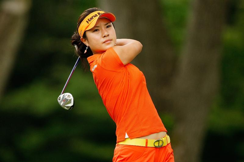 BETHLEHEM, PA - JULY 11:  Hee Young Park of South Korea tees off on the 8th hole during the third round of the 2009 U.S. Women's Open at Saucon Valley Country Club on July 11, 2009 in Bethlehem, Pennsylvania.  (Photo by Chris Graythen/Getty Images)