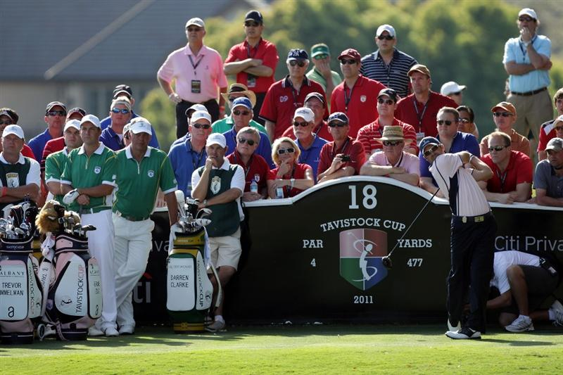 ORLANDO, FL - MARCH 14:  Trevor Immelman of South Africa and the Albany Club tees off at the 18th hole during the first day of the 2011 Tavistock Cup at Isleworth Golf Club on March 14, 2011 in Orlando, Florida.  (Photo by David Cannon/Getty Images)