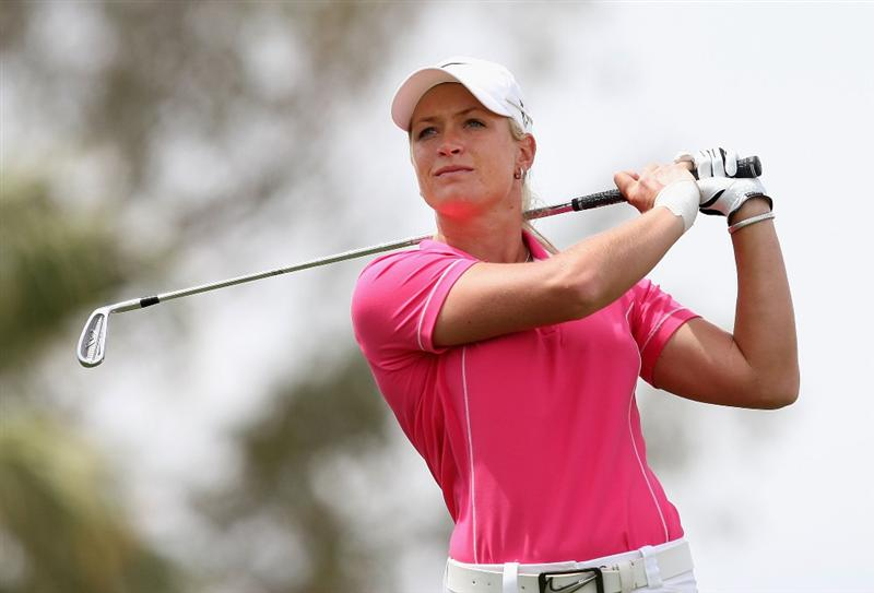 PHOENIX - MARCH 29:  Suzann Pettersen of Norway tees off on the second hole during the fourth round of the J Golf Phoenix LPGA International golf tournament at Papago Golf Course on March 29, 2009 in Phoenix, Arizona.  (Photo by Christian Petersen/Getty Images)