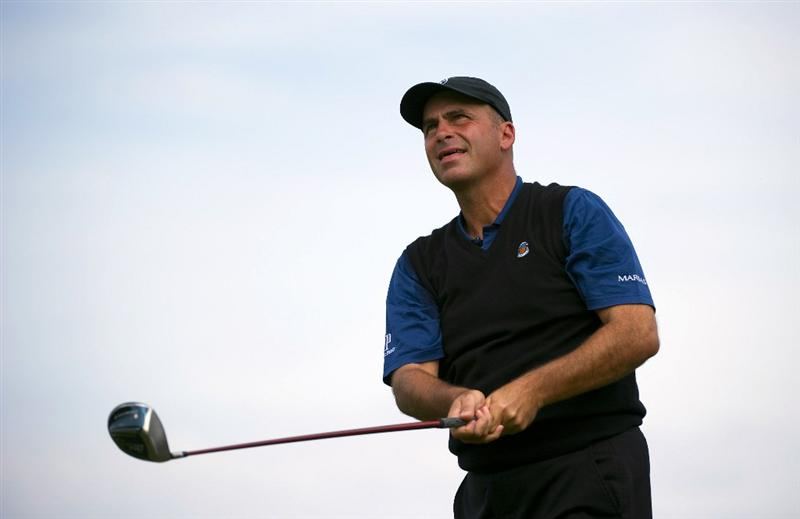 SAN MARTIN, CA - OCTOBER 16:  Rocco Mediate makes a tee shot on the fourth hole during the third round of the Frys.com Open at the CordeValle Golf Club on October 16, 2010 in San Martin, California.  (Photo by Robert Laberge/Getty Images)