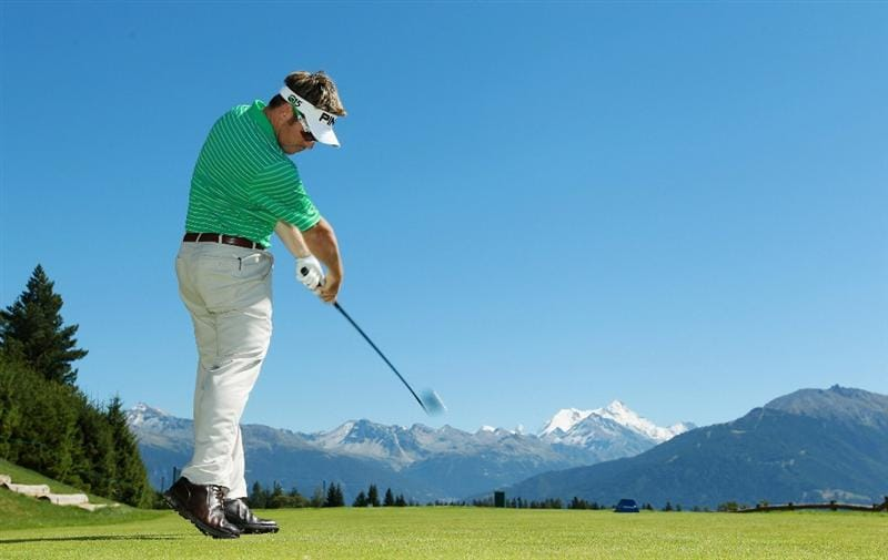 CRANS, SWITZERLAND - SEPTEMBER 01:  Louis Oosthuizen of South Africa tees off on the seventh hole during the Pro Am prior to the start of The Omega European Masters at Crans-Sur-Sierre Golf Club on September 1, 2010 in Crans Montana, Switzerland.  (Photo by Warren Little/Getty Images)