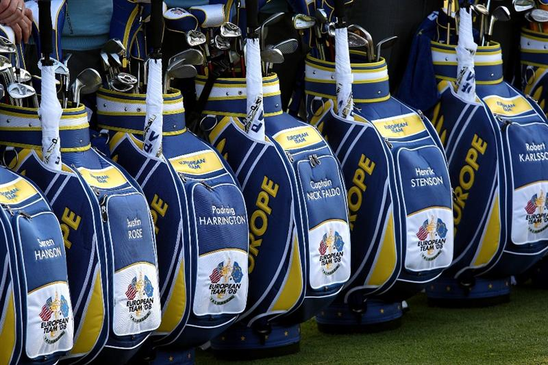 LOUISVILLE, KY - SEPTEMBER 16: The golf bags of members of the European team are seen during the European Team photo shoot prior to the start of the 2008 Ryder Cup at Valhalla Golf Club of September 16, 2008 in Louisville, Kentucky.  (Photo by Ross Kinnaird/Getty Images)