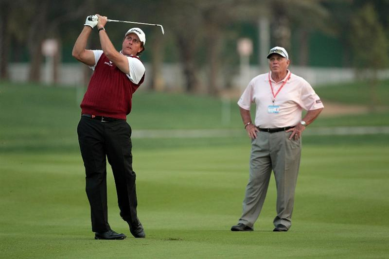 ABU DHABI, UNITED ARAB EMIRATES - JANUARY 19:  Phil Mickelson of the USA with his coach Butch Harmon of the USA during the pro-am as a preview for the 2011 Abu Dhabi HSBC Golf Championship to be held at the Abu Dhabi Golf Club on January 19, 2011 in Abu Dhabi, United Arab Emirates.  (Photo by David Cannon/Getty Images)
