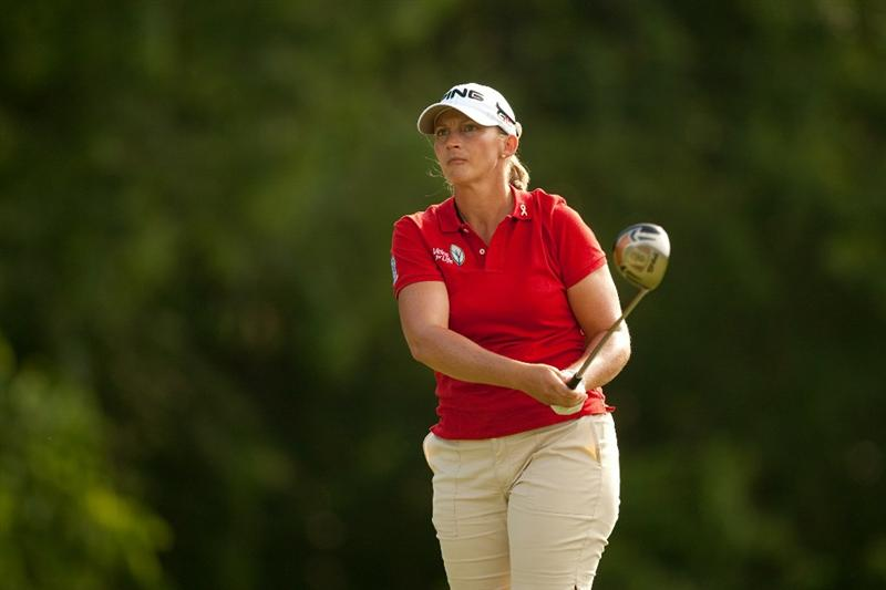 SPRINGFIELD, IL - JUNE 11: Angela Stanford follows through on a tee shot during the second round of the LPGA State Farm Classic at Panther Creek Country Club on June 11, 2010 in Springfield, Illinois. (Photo by Darren Carroll/Getty Images)