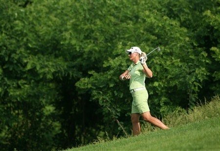 HAVRE DE GRACE, MD - JUNE 08:  Maria Hjorth of Sweden hits her fourth shot on the 13th hole during the final round of the McDonald's LPGA Championship at Bulle Rock Golf Course on June 8, 2008 in Havre de Grace, Maryland.  (Photo by Andy Lyons/Getty Images)