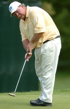 Craig Stadler putts on the fourth green during the first round of the 2005 U.S. Senior Open Championship at NCR Country Club, July 28, 2005 in Kettering, Ohio.Photo by Steve Grayson/WireImage.com
