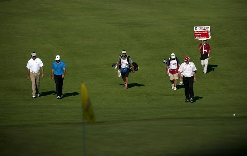 SAN MARTIN, CA - OCTOBER 15:  Stephen Ames (L) of Canada, Will MacKenzie (2L) and Matt Bettencourt (2R) walk up to the sixth green during the second round of the Frys.com Open at the CordeValle Golf Club on October 15, 2010 in San Martin, California.  (Photo by Robert Laberge/Getty Images)