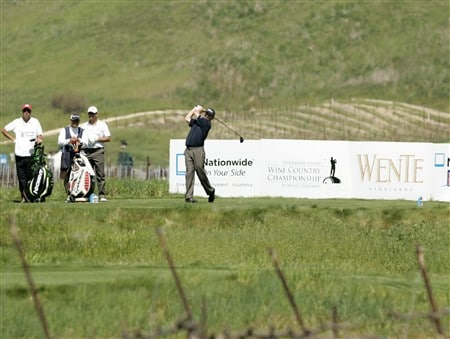 LIVERMORE, CA - APRIL 03:   Greg Chalmers of Australia hits the ball on the 17th tee during the first round of the 2008 Livermore Valley Wine Country Championship on April 03, 2008 at the Wente Vineyard in Livermore, California. (Photo By Kent Horner/ Getty Images)