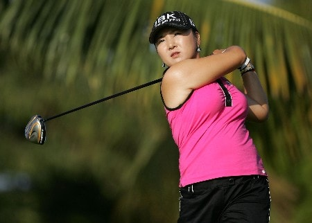 KAPOLEI, HI - FEBRUARY 22:  Jeong Jang of South Korea hits her tee shot on the 2nd hole during the second round of the Fields Open on February 22, 2008  at the Ko Olina Golf Club in Kapolei, Hawaii.  (Photo by Andy Lyons/Getty Images)