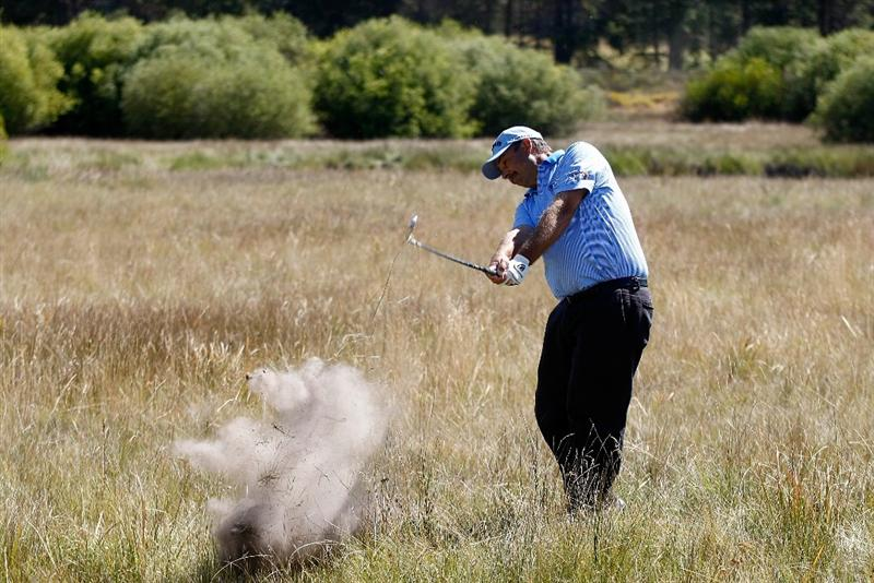 SUNRIVER, OR - AUGUST 23:  Brad Bryant hits his second shot on the 6th hole during the final round of the Jeld-Wen Tradition on August 23, 2009 at  the Crosswater Club at Sunriver Resort in Sunriver, Oregon.  (Photo by Jonathan Ferrey/Getty Images)