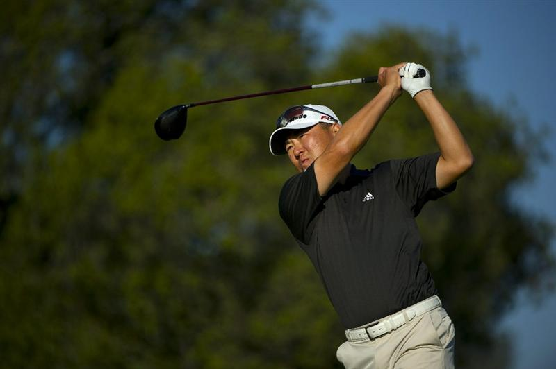 SAN MARTIN, CA - OCTOBER 15:  Charlie Wi of South Korea makes a tee shot on the sixth hole during the second round of the Frys.com Open at the CordeValle Golf Club on October 15, 2010 in San Martin, California.  (Photo by Robert Laberge/Getty Images)