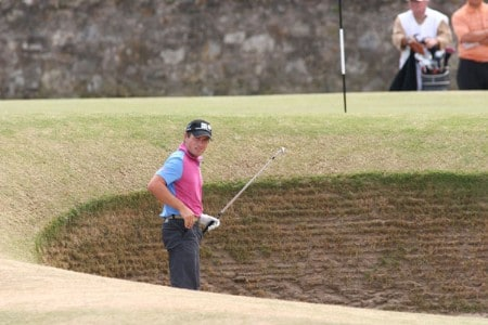 Steve Webster prepares to play out of the famous 17th bunker during the final round of the 2005 British Open Golf Championship at the Royal and Ancient Golf Club in St. Andrews, Scotland on July 17, 2005Photo by Phil Inglis/WireImage.com