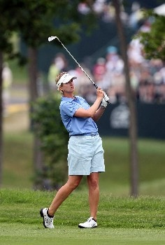 HAVRE DE GRACE, MD - JUNE 10:  Karrie Webb of Australia hits her second shot at the par 4, 1st hole during the final round of the 2007 McDonald's LPGA Championship on June 10, 2007 at Bulle Rock Golf Course in Havre de Grace, Maryland.  (Photo by David Cannon/Getty Images)