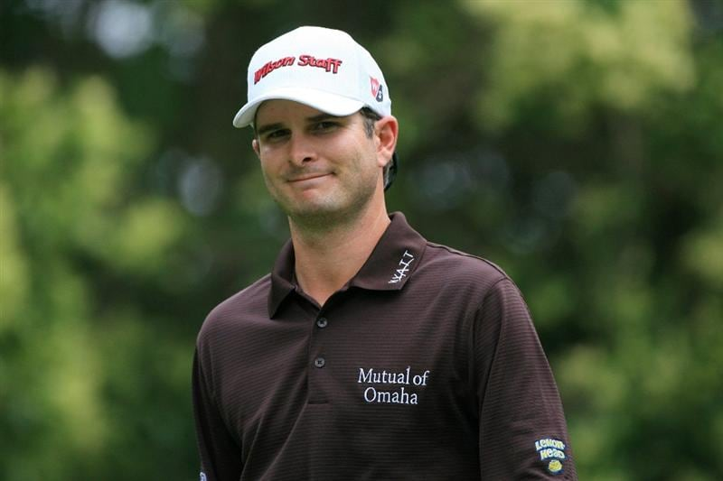 FT. WORTH, TX - MAY 19: Kevin Streelman smiles as he walks off the 12th tee box during the first round of the Crowne Plaza Invitational at Colonial Country Club on May 19, 2011 in Ft. Worth, Texas. (Photo by Hunter Martin/Getty Images)
