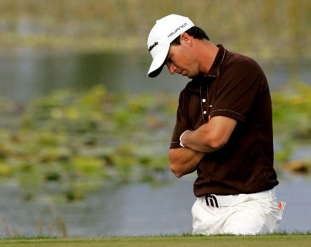 PALM BEACH GARDENS, FL - MARCH 1:  John Mallinger looks at the position of his ball on the 11th green during the third round of the Honda Classic at PGA National Resort and Spa March 1, 2008 in Palm Beach Gardens, Florida.  (Photo by Sam Greenwood/Getty Images)