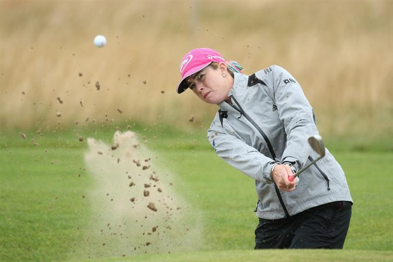LYTHAM ST ANNES, ENGLAND - JULY 28:  Paula Creamer of USA hits out of a bunker during the Pro-Am prior to the 2009 Ricoh Women's British Open Championship held at Royal Lytham St Annes Golf Club, on July 28, 2009 in  Lytham St Annes, England.  (Photo by David Cannon/Getty Images)