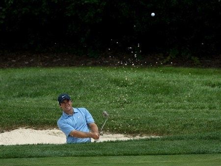 BLOOMFIELD HILLS, MI - AUGUST 07:  Trevor Immelman of South Africa plays his fourth shot out of a bunker on the fourth hole during round one of the 90th PGA Championship at Oakland Hills Country Club on August 7, 2008 in Bloomfield Township, Michigan.  (Photo by David Cannon/Getty Images)